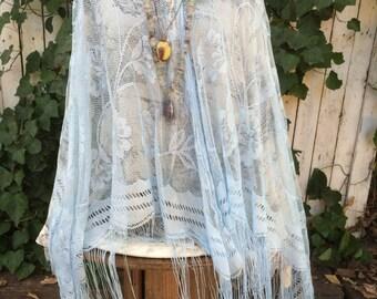 Vintage Blue Lace Shawl