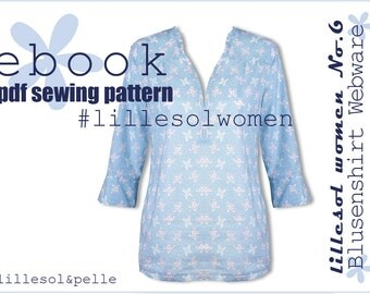 Ebook pdf sewing pattern lillesol women No.5 Blouse style Shirt COTTON  / Woman / Instant Download / photo instruction