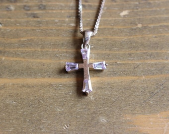 Vintage Sterling Silver Box Chain Necklace and Cross Pendant