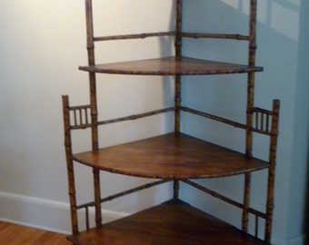 English tiger bamboo corner etagere from the turn of the century. DIRECT PICKUP ONLY
