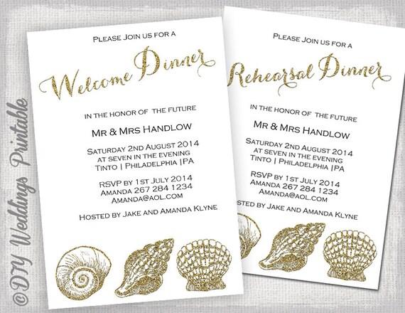 Rehearsal Dinner Invitation Template / Welcome Dinner Invite