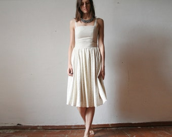Mid length off white linen lace dress
