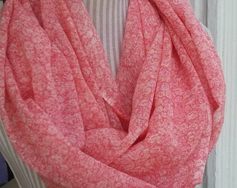 Coral floral infinity scarf