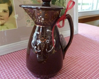 Vintage Brown Clay Moriage Teapot - Made in Japan