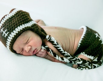 Crocheted Football Beanie and Diaper Cover Set