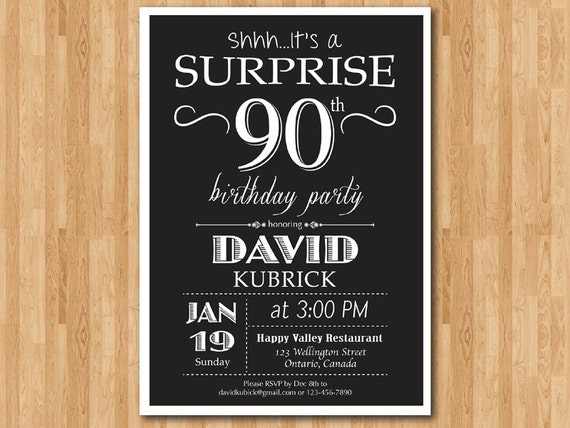 surprise 90th birthday invitation for men  70th 80th  adult
