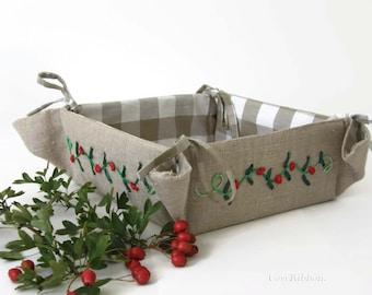 Fabric Basket , Storage Basket , Bread Bin , Linen Storage Basket , Linen Bread Basket , Kitchen Basket or Kitchen Organizer , Table Basket