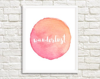 Pink Wanderlust Watercolor Digital Print