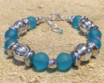 Blue Beach Glass Bracelet, Blue Bracelet, Blue Bead Bracelet, Beach Bracelets, Blue Sea Glass Bracelet, Blue Beaded Bracelet, Blue Bead
