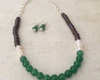 Brown and Green Color Block Necklace, Color Block Necklace Set, Green Necklace, Brown Necklace, Color Block Set