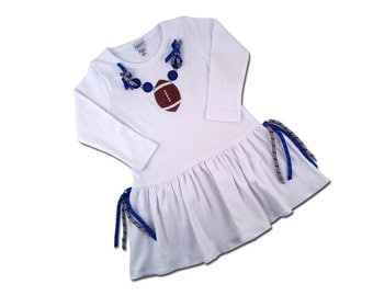 Girl's Football Dress with Blue Corker Ribbons and Bling - Customizable Colors