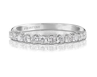 18k White Gold Diamond Wedding Band Round .34ct FVS2 Diamonds Prong Set Ring Diamond Band Wedding Band Anniversary Pristine Custom Rings