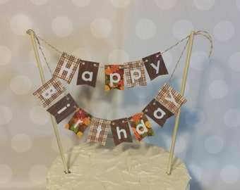 "Cake Bunting, ""November Leaves"", Happy Birthday, Cake Topper, Paper banner"