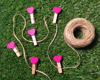 6 mini pegs with jute twine, love heart pegs, wooden pegs, wooden pegs and twine, novelty pegs