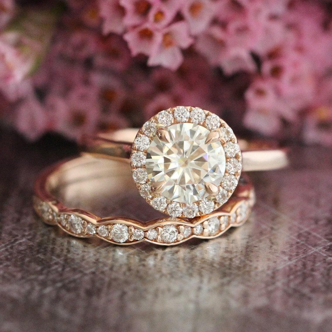 Rose Gold Moissanite Wedding Set Halo Engagement Ring and