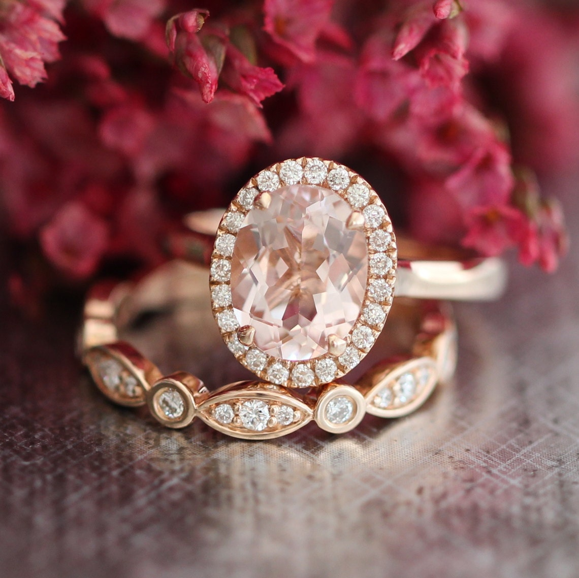 rose gold diamond morganite wedding ring set in by. Black Bedroom Furniture Sets. Home Design Ideas