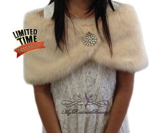 Faux Fur Wrap, Bridal Shawl, Champange Faux Fur Stole For Flower Girl, Wedding Fur Shrug, Kid Fur Stole, Fur Wrap, MRBBridal KW108-CPN