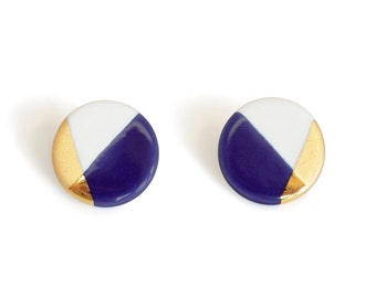 circle porcelain earrings in blue, gold dipped, free shipping