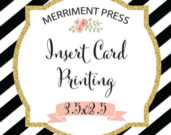 INSERT CARD PRINTING for matching items from Merriment Press - Diaper Raffle, Bring a Book Printing