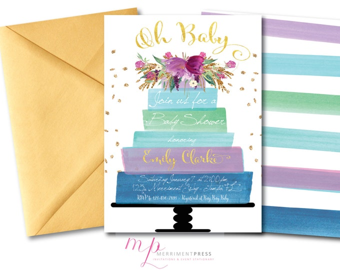 Purple Baby Shower Invitation // Baby Shower Invite // Cake // Flowers // Watercolor // Blue // Purple//Faux Gold Foil//Glitter //  HAMPTONS