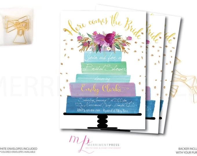 Purple Bridal Shower Invitation // Invite // Watercolor // Cake // Flowers // Blue // Purple//Faux Gold Foil//Glitter // HAMPTONS COLLECTION