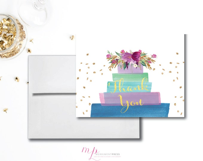 Purple Cake Gold Glitter THANK YOU CARD Watercolor Lilac Green Blue Gold Foil Folded A1 Printed Birthday Bridal Baby - Cake Collection