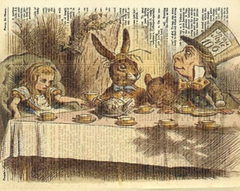 Mad Hatter - Alice in Wonderland Tea Party Vintage Dictionary Page Art Print