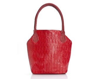 Sale!!! Women gift - red leather purse - leather tote - red tote - gift for her - Red Purse small red Handbag