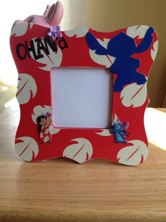 picture frame ohana lilo and stitch disney inspired photo frame memories
