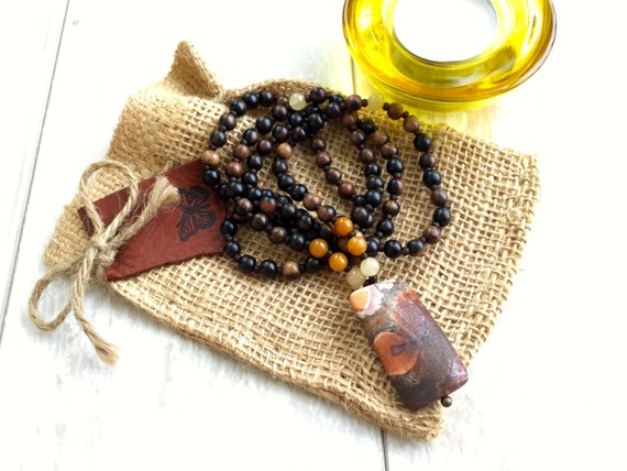 Wood Bohemian Style Necklace, Mala Necklace, Yoga Inspired Jewelry, Casual Natural Jewelry, Yoga Gifts, Mala Beads, Natural Healing Jewelry