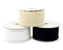 Lace Ribbon Floral Trim Patterned, 2-inch, 25-yard