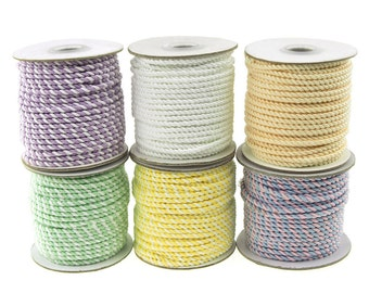 Twisted Cord Rope 2 Ply, 3mm, 25-yard, Pastel