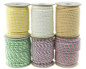 Twisted Cord Rope 2 Ply, 6mm, 25-yard, Pastel