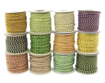 Gold Trim Twisted Cord Rope 2 Ply, 3mm, 25 Yards