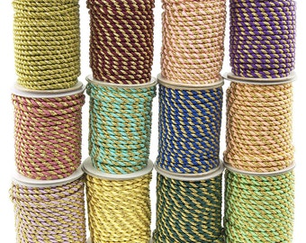 Twisted Cord Rope 2 Ply, 6mm, 25-yard, Gold Trim