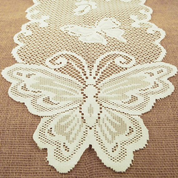 Butterfly lace table runner dining 13 inch 8 feet from for 12 foot table runner