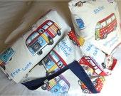 Volkswagen van bedding. Set 2: vw throw Blanket, vw Pillow cover, hippie caravan, Volkswagen van, vw hippie van, hippie bus, vw camper gift