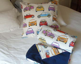 MINI Cars, set of 2: throw blanket - pillow cover. Dorm bedding, dorm blanket, boy blanket, travel blanket, decorative blanket
