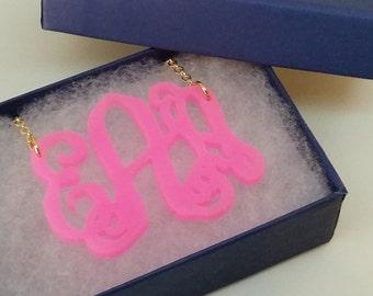 "Large 2"" Neon Pink Acrylic Monogram Necklace"