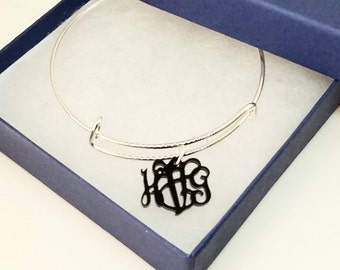 Acrylic Monogram Bangle Bracelet