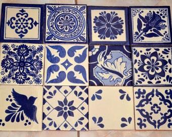 "12 Mexican Talavera Tile mix 4x4"""