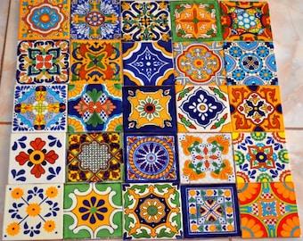 "25 Mexican Talavera Tile mix 4x4"""