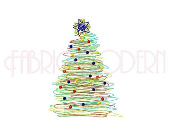 Christmas Tree Embroidery Design, Scribble Christmas tree design, multiple sizes, #538