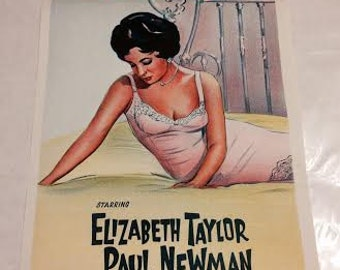 Rare, Original Cat on a Hot Tin Roof Movie Poster Daybill, Elizabeth Taylor, Paul Newman, Australian Folded