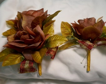 Silk Corsage Set; Corsage; Matching Boutineer; New; Handcrafted; Approx. 5 x 6 (Corsage); 3 x 4 (Boutineer)