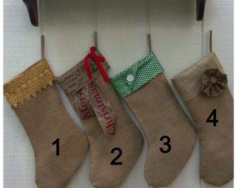 CHRISTMAS STOCKING,   shabby chic stocking, custom stocking, Christmas burlap  and burlap like stocking, cottage stocking, jute stocking