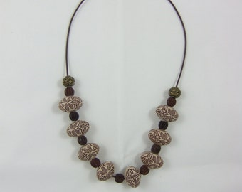 Tan and Brown Large Beaded Necklace
