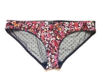 Miss Church Pink Velvet Floral Knickers