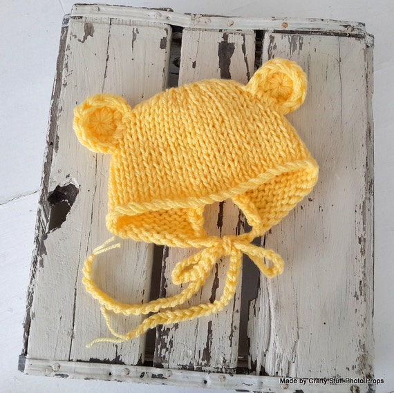 Knitting Patterns For Photography Props : Baby bear bonnet knitting pattern newborn