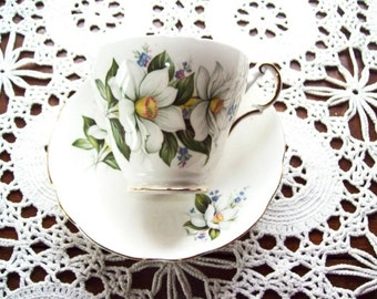 Tea Cup & Saucer Regency English China Set Intricately Detailed Lovely Large White Flowers And Small Blue Flowers